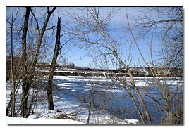 Cohoes, Hudson River view in winter